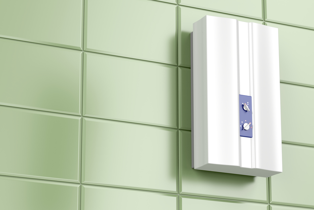 Tankless water heater in the bathroom