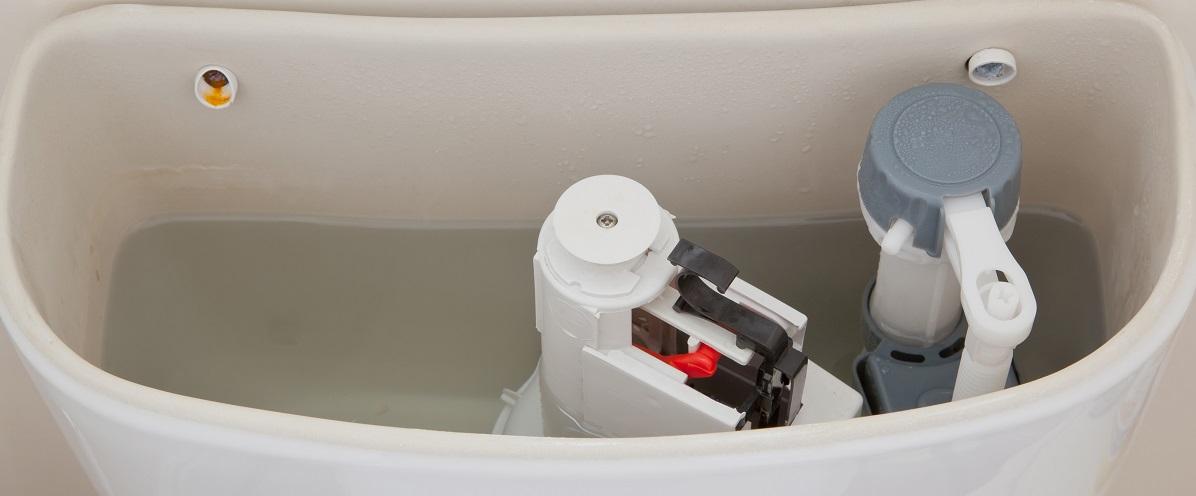 inside a toilet tank
