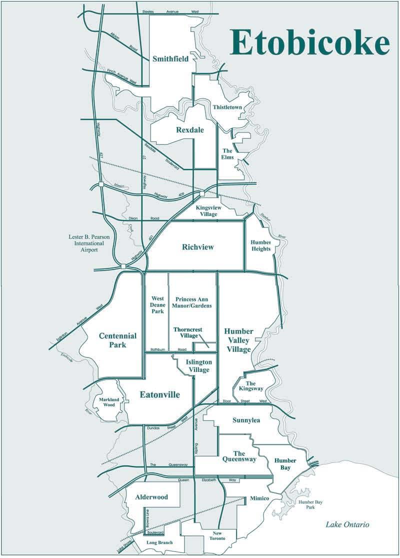 Etobicoke neighbourhood map