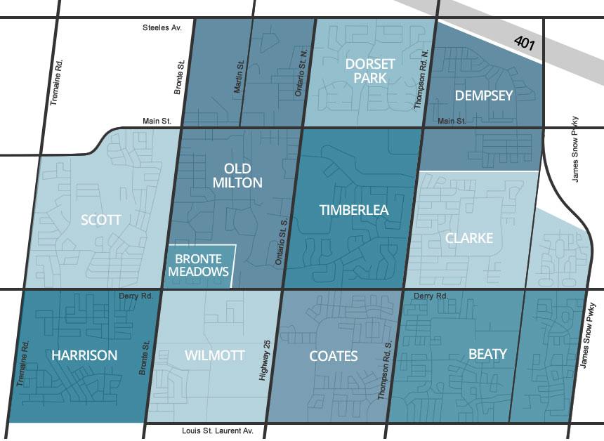 Map of Miltons Neighborhoods