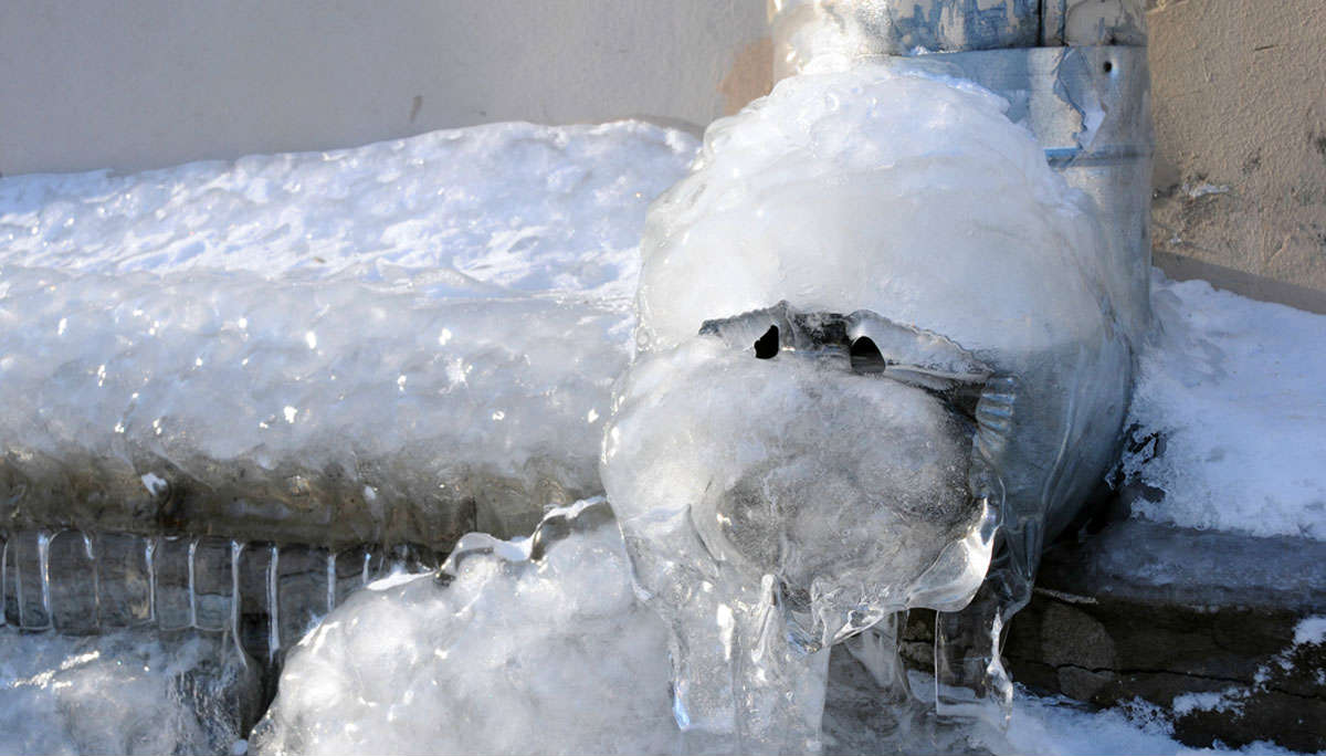 ice covered frozen pipes