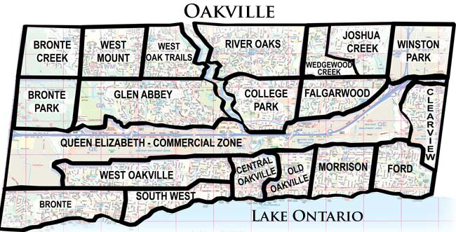Map of Oakville neighborhoods